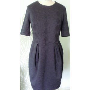 H&M BLACK QUILTED SHORT SLEEVE SHEATH DRESS 12